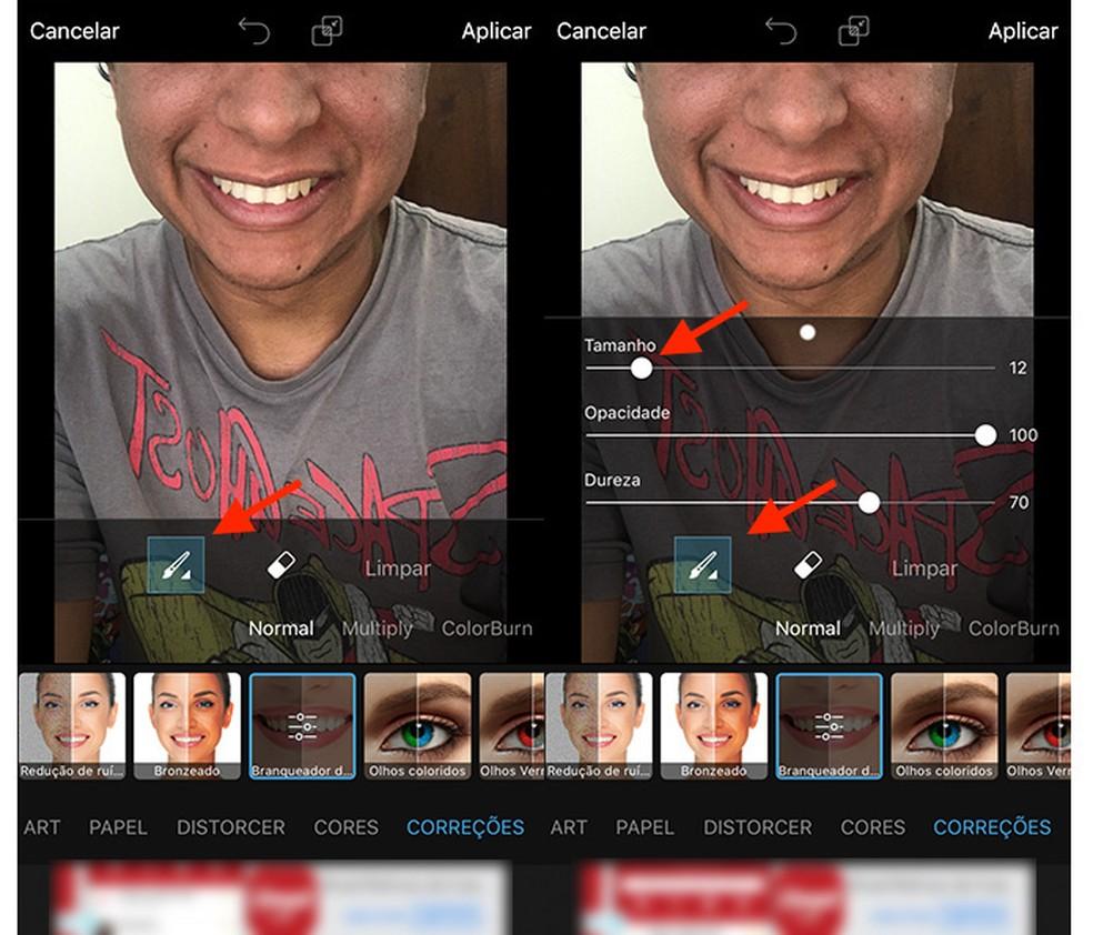 Ação para redefinir o tamanho de ação do efeito branqueador de dentes do PicsArt (Foto: Reprodução/Marvin Costa)