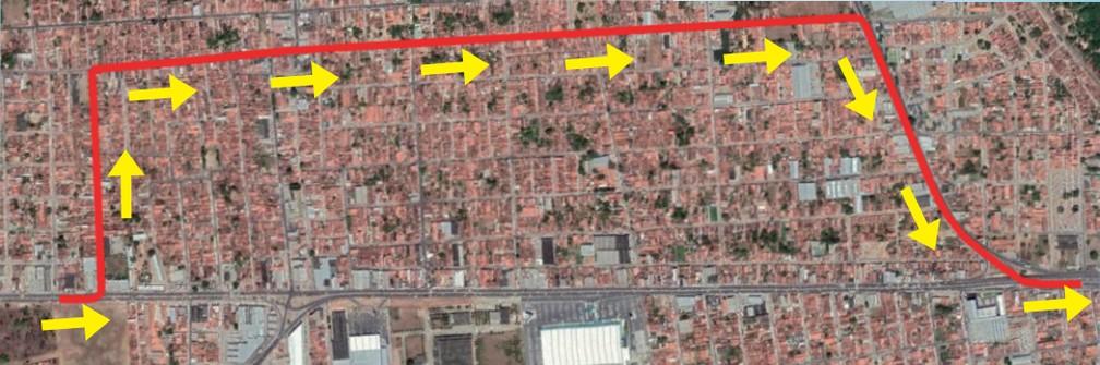 Mapa divulgado pelo Dnit mostra desvio que deve ser feito por usuários que vão de Ceará-Mirim para Natal durante interdição na BR-101 Norte na Grande Natal.  — Foto: Dnit/Divulgação