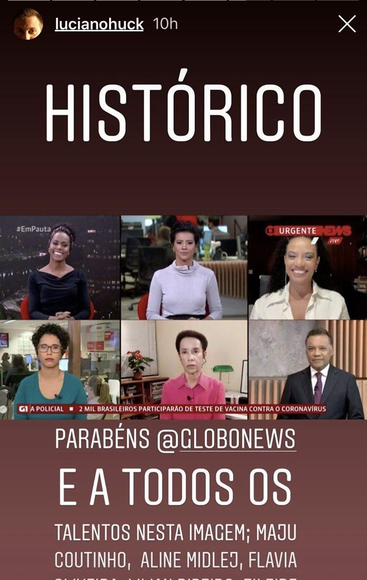 Luciano Huck parabenizou os profissionais envolvidos na edição (Foto: reprodução/ Instagram)