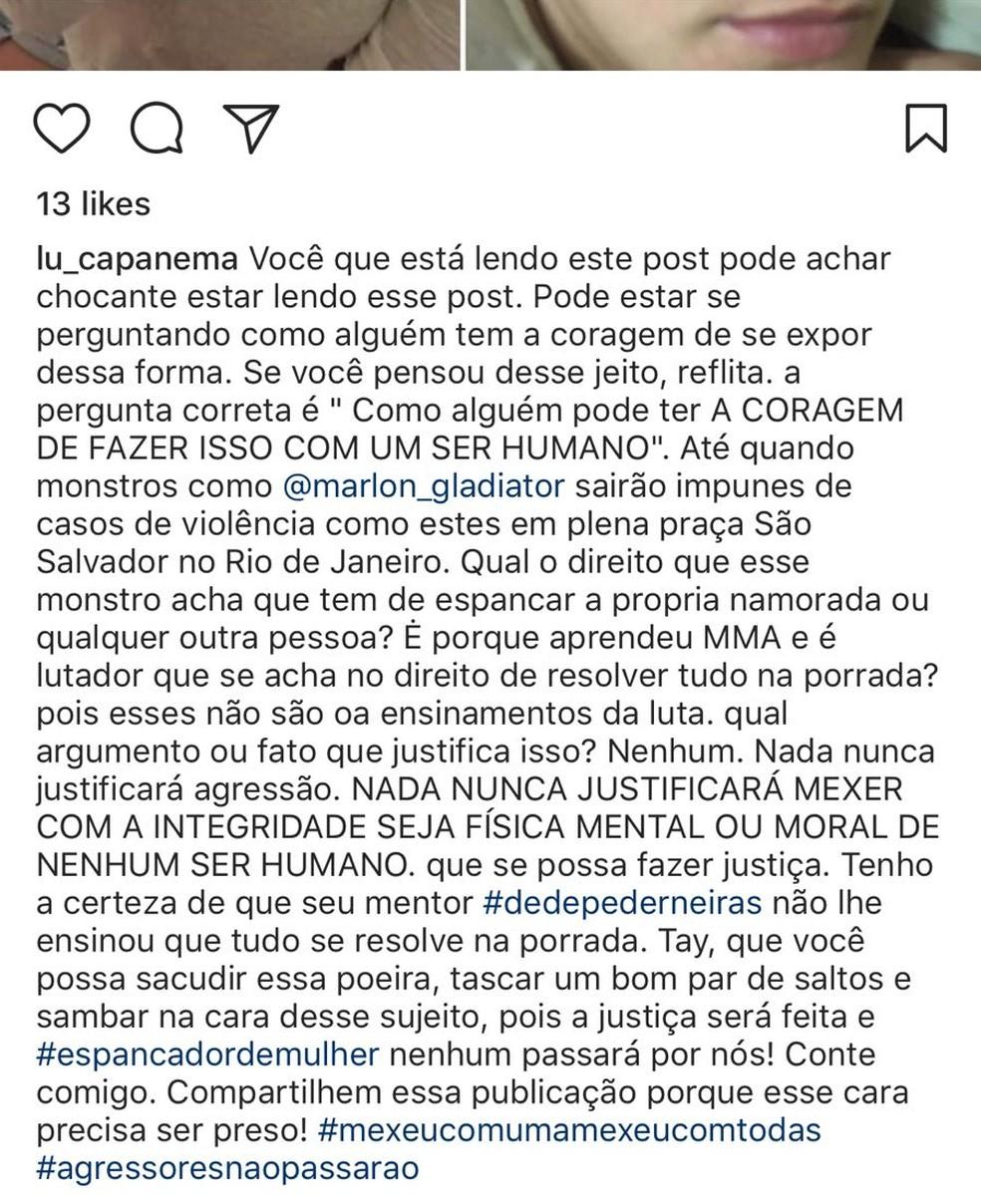 Um dos posts nas redes sociais sobre a suposta agressão de Marlon Sandro  (Foto: Reprodução/Instagram)