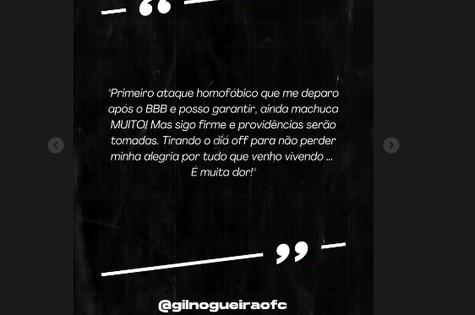 Gil posta texto na web após sofrer homofobia (Foto: Reprodução)