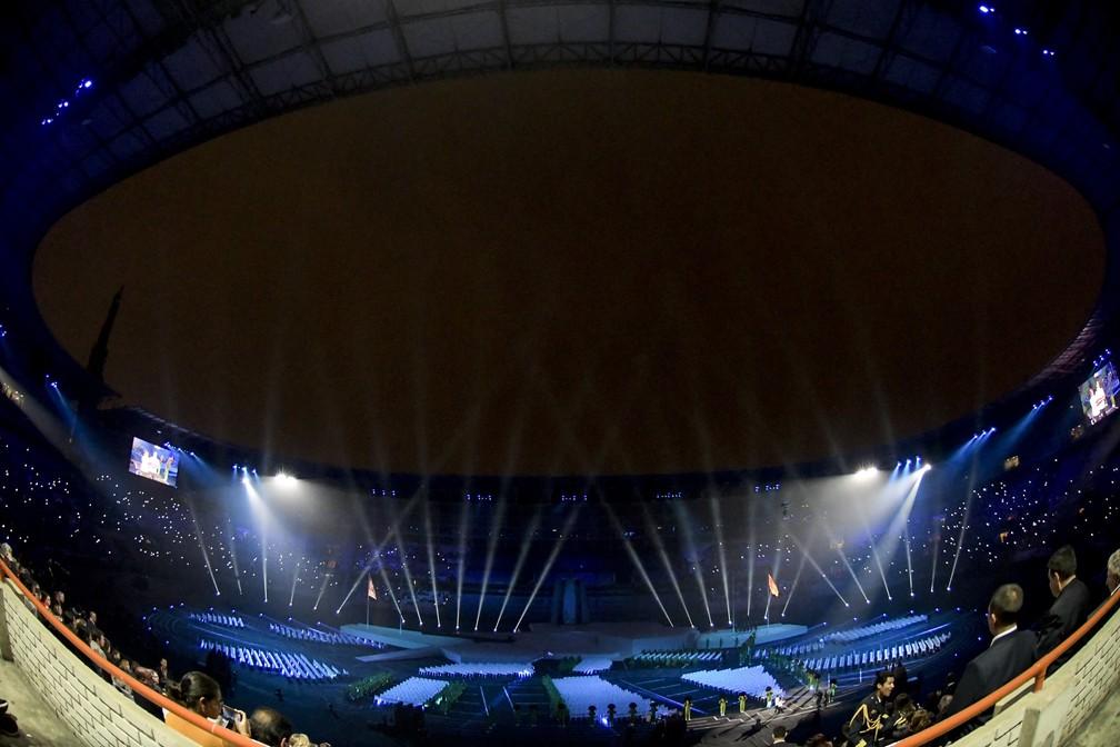 Panorâmica do Estádio Nacional de Lima durante a cerimônia de abertura — Foto: Washington Alves/EXEMPLUS/CPB