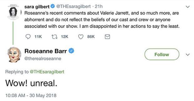 Roseanne Barr responde críticas de Sara Gilbert (Foto: Reprodução/Twitter)