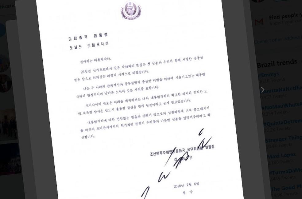 -  Trump divulgou carta de Kim Jong-un  Foto: Reprodução/Twitter/Donald Trump