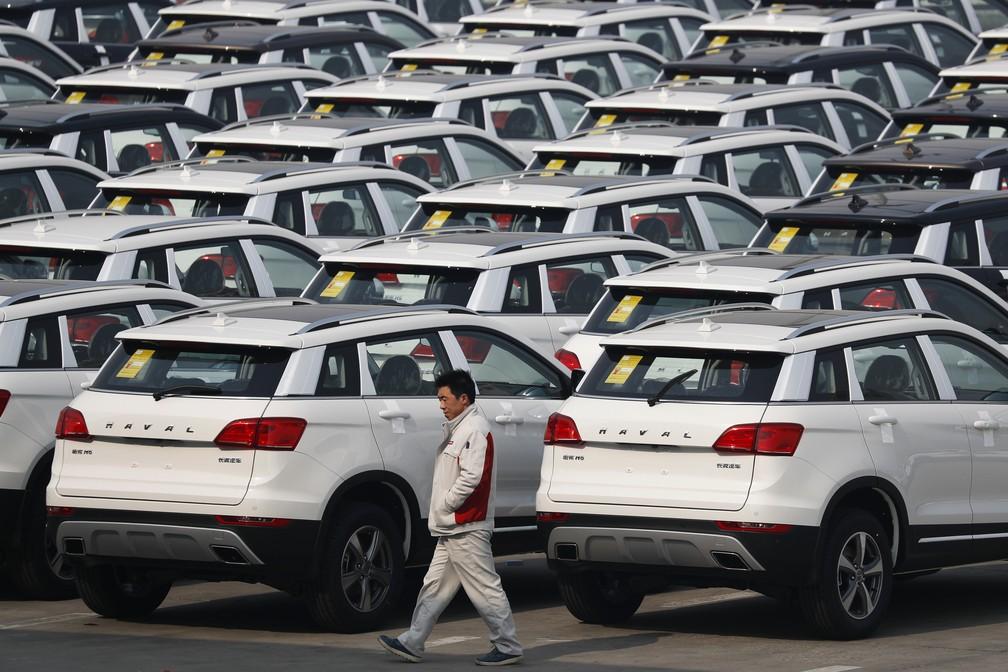 Veículos da marca Haval, que faz parte da Great Wall (Foto: AP Photo/Andy Wong)