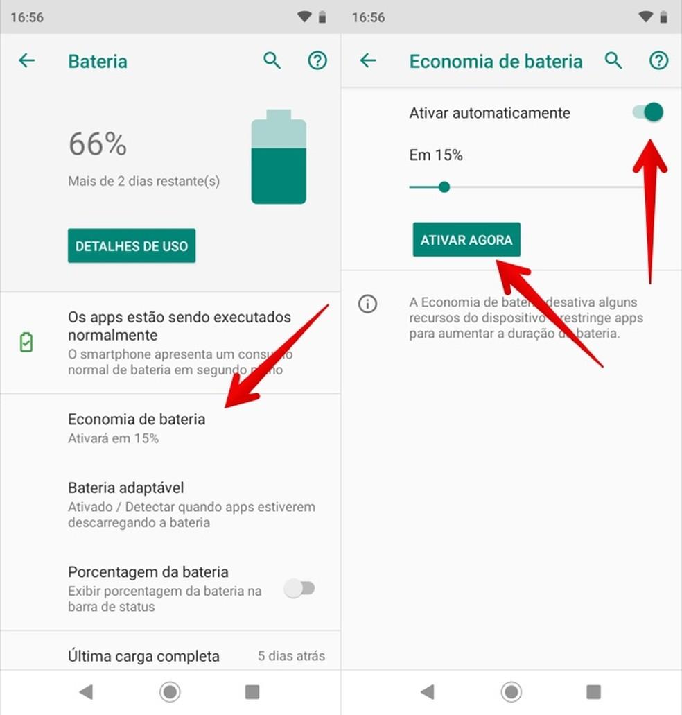 O modo de economia de bateria pode desativar atividades em segundo plano do WhatsApp — Foto: Reprodução/Helito Beggiora