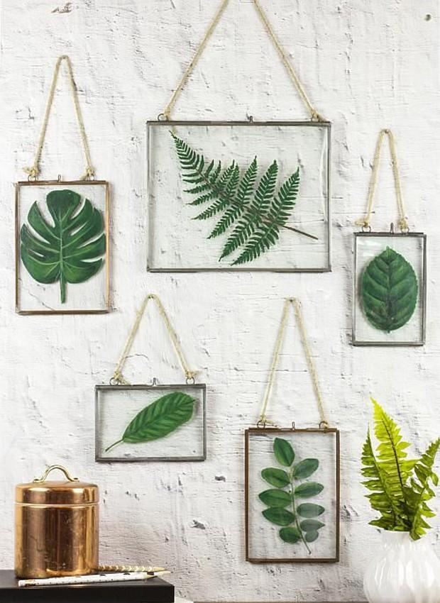 9-ideias-de-decoracao-com-plantas-para-o-dia-das-maes-quadros-com-folhas-prensadas.jpg (Foto: Pinterest/Reprodução)