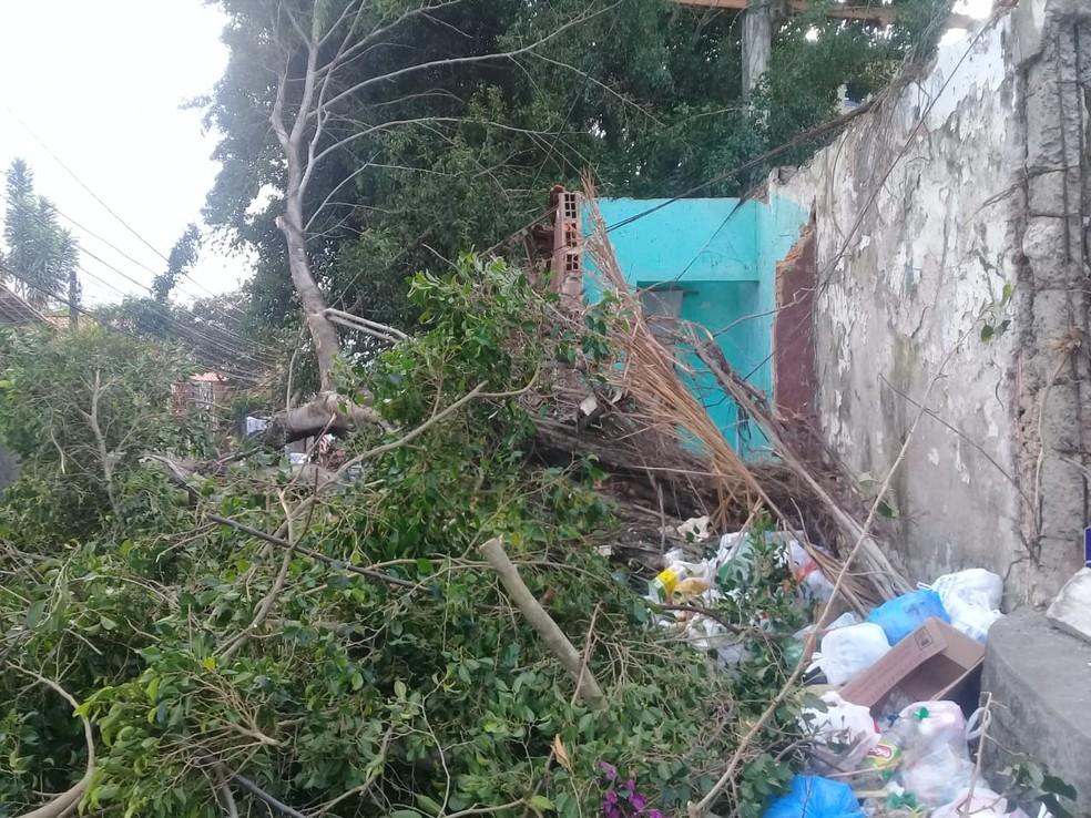 A Transalvador segue no local, administrando o trânsito. Ainda não há informações sobre o imóvel,que teve parte do telhado atingido durante a queda.  — Foto: Cid Vaz / TV Bahia