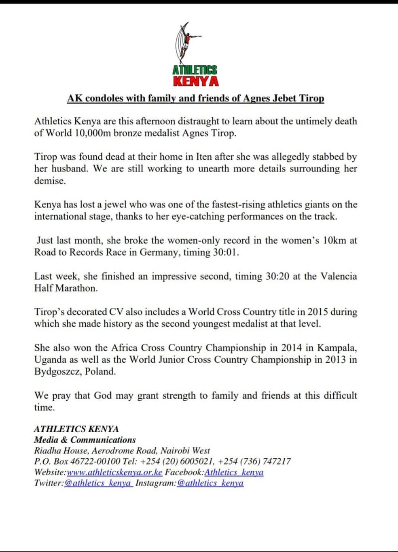 Comunicado da federação de atletismo do Quênia sobre a morte da atleta Agnes Tirop, recordista mundial dos 10.000 metros e duas vezes medalhista de bronze em campeonatos mundiais, que foi encontrada esfaqueada em sua casa — Foto: Reprodução/Twitter