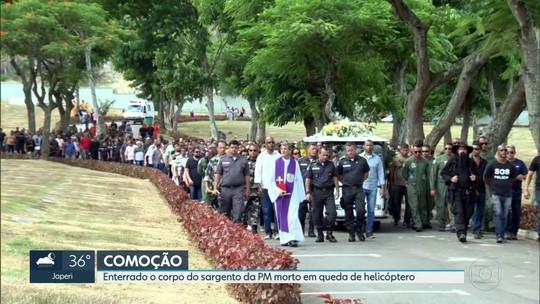 Enterrado o corpo do policial militar que morreu em acidente com helicóptero ontem