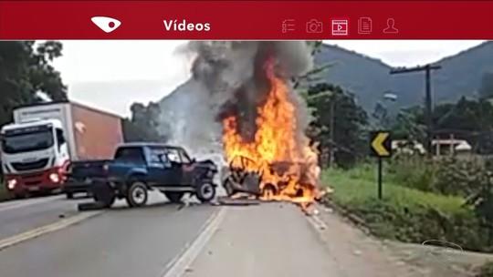 Grave acidente na BR-101 em Ibiraçu mata duas pessoas carbonizadas