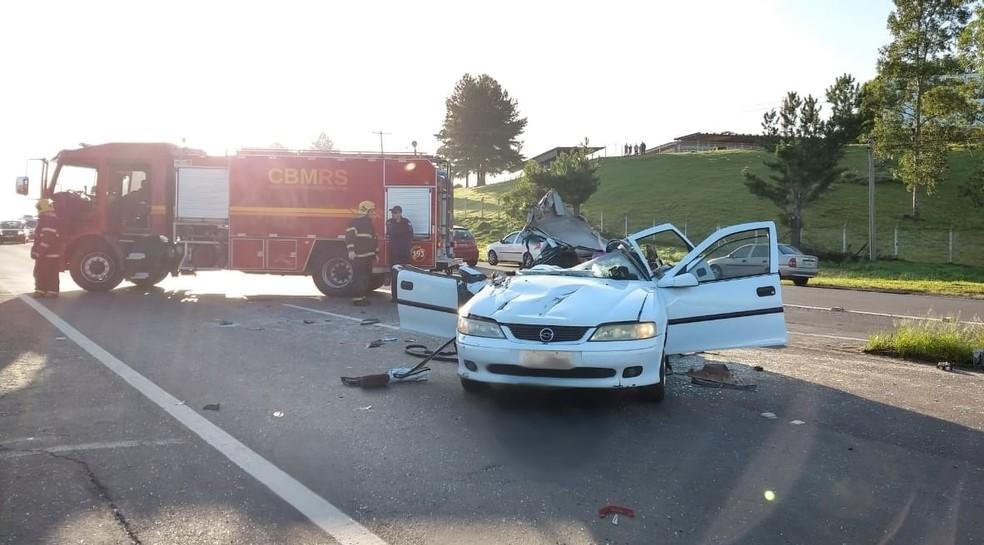 Uma pessoa morreu e outras três ficaram feridas em acidente em Sapiranga — Foto: Divulgação/CRBM