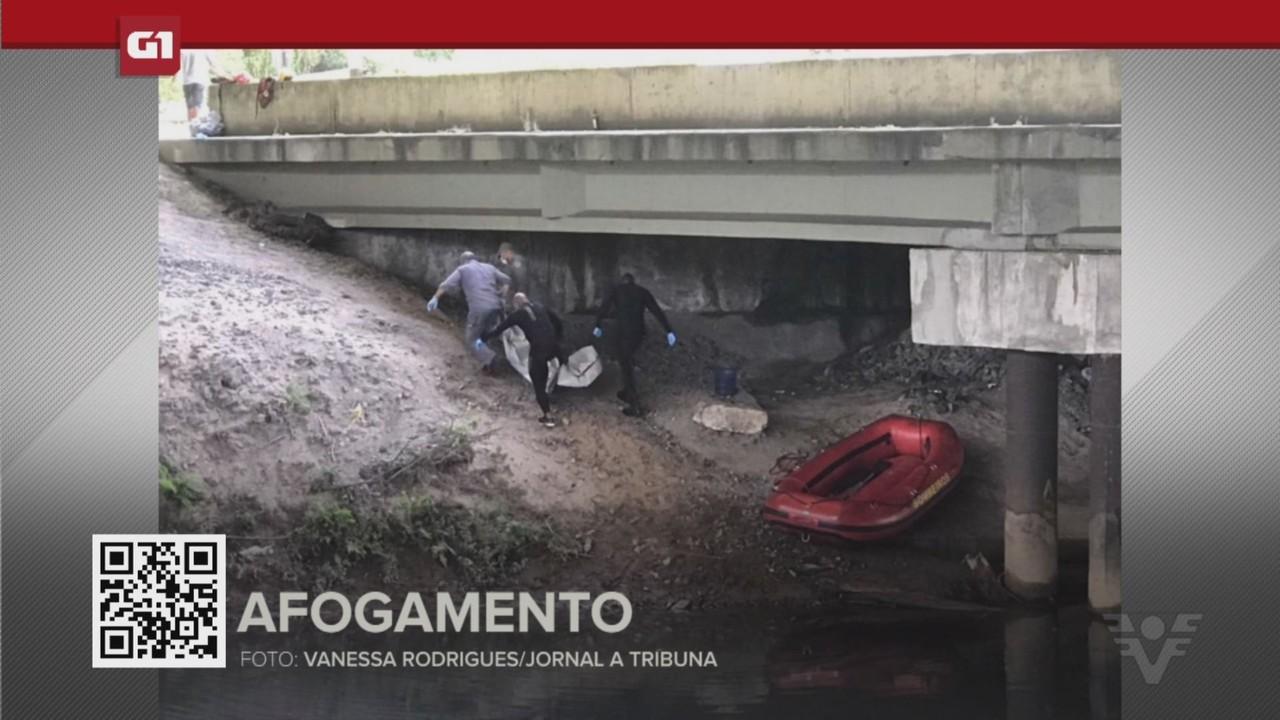 G1 em 1 Minuto - Santos: Corpo de homem que sumiu em rio é encontrado em Cubatão