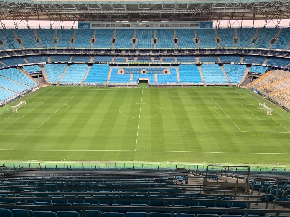 Arena do Grêmio divulgou imagem do gramado nesta sexta-feira — Foto: Divulgação/Arena do Grêmio