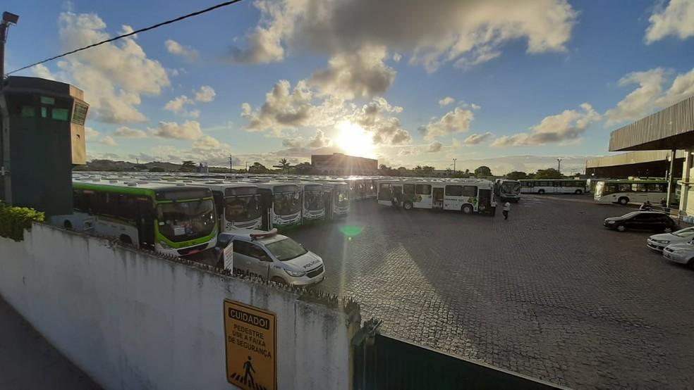 Ônibus da empresa Caxangá estacionados na garagem, no bairro de Peixinhos, em Olinda — Foto: Elvys Lopes/TV Globo