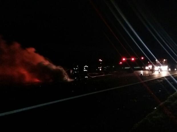 Fogo foi controlado pelos bombeiros na rodovia Castello Branco (Foto: Adolfo Lima/ TV TEM)