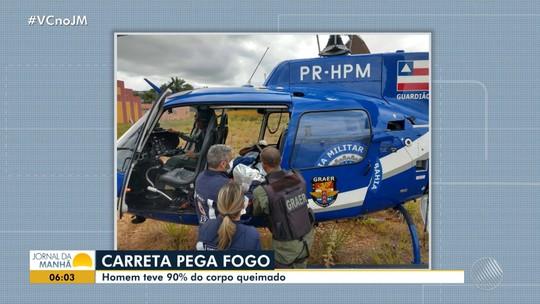 Homem tem mais de 90% do corpo queimado em incêndio de carreta carregada de óleo na Bahia; FOTOS