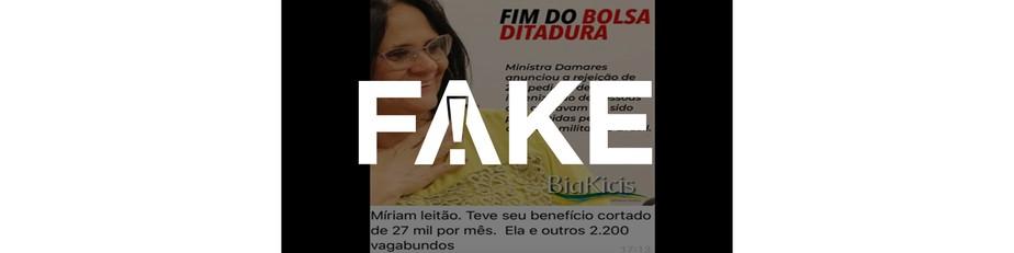 É #FAKE que Míriam Leitão recebe anistia e teve benefício de R$ 27 mil cortado