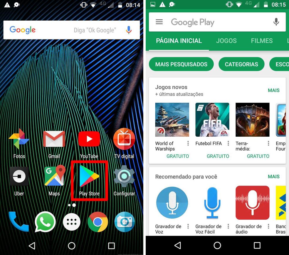 Abra a Play Store no Android — Foto: Reprodução/Lucas Mendes