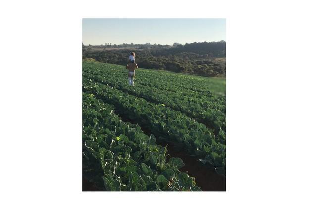 Caio e a filha mais velha, Alice, numa das plantações da fazenda (Foto: Reprodução)