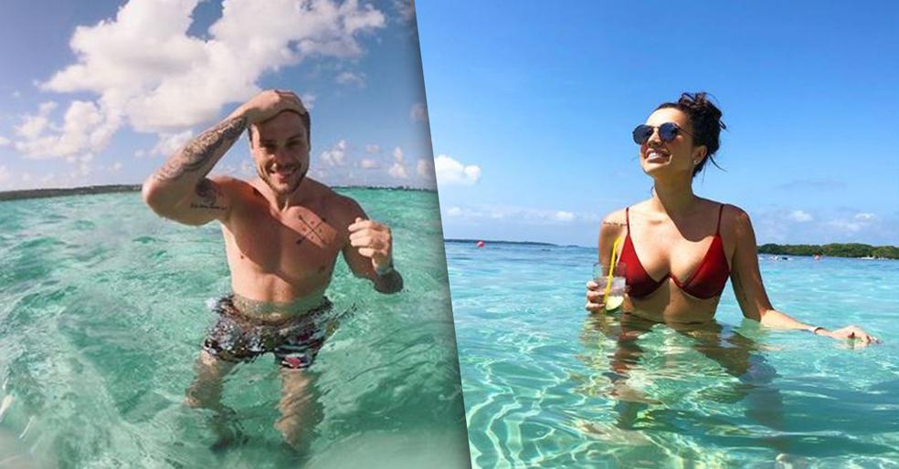 Breno e Paula curtiram seis dias de férias no mar da Colômbia — Foto: Reprodução/Instagram