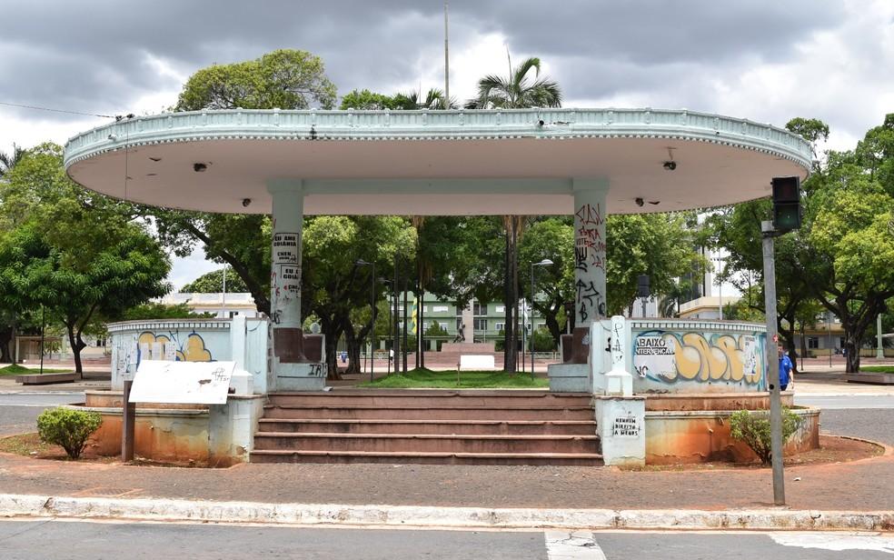Coreto de Goiânia, na Praça Cívica, em Goiás — Foto: Paula Resende/ G1