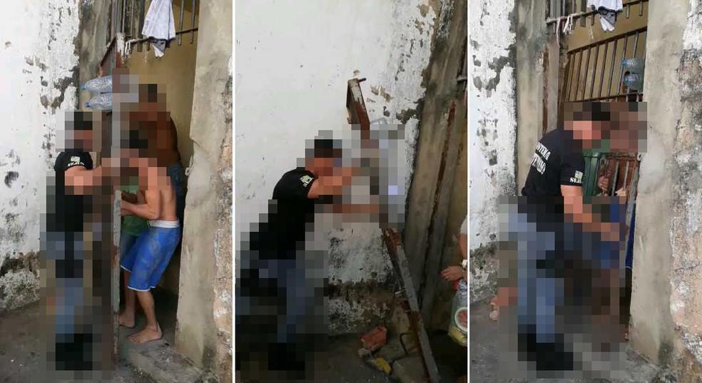 Grande quase cai sobre agente penitenciário. — Foto: Divulgação/Sinpoljuspi