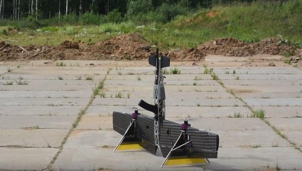 Drone russo que carrega um espingarda para atacar outros veículos não tripulados (Foto: Reprodução)