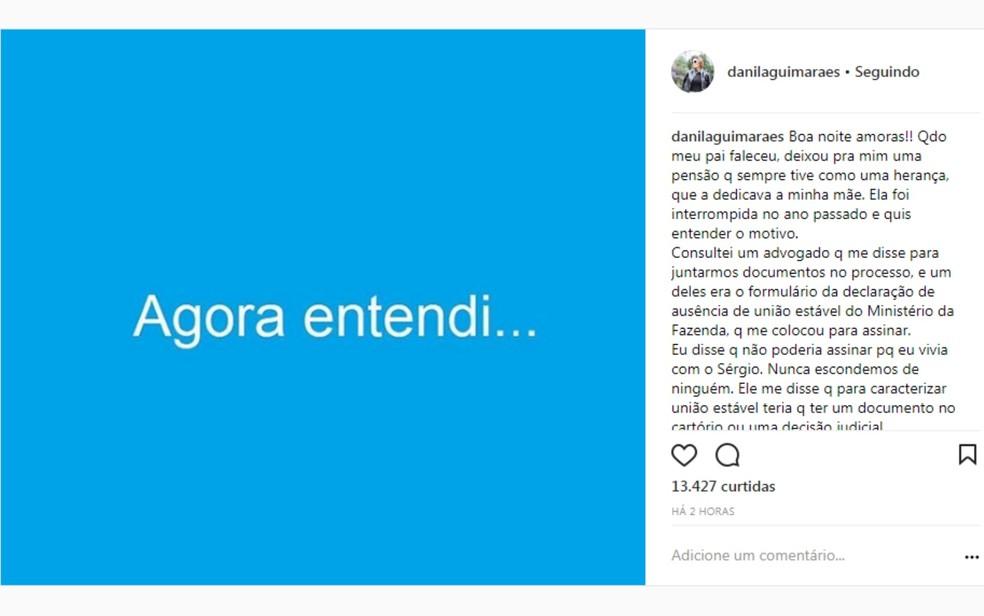 Danila Guimarães afirma que não sabia ter cometido erro ao não declarar união (Foto: Instagram/Reprodução)
