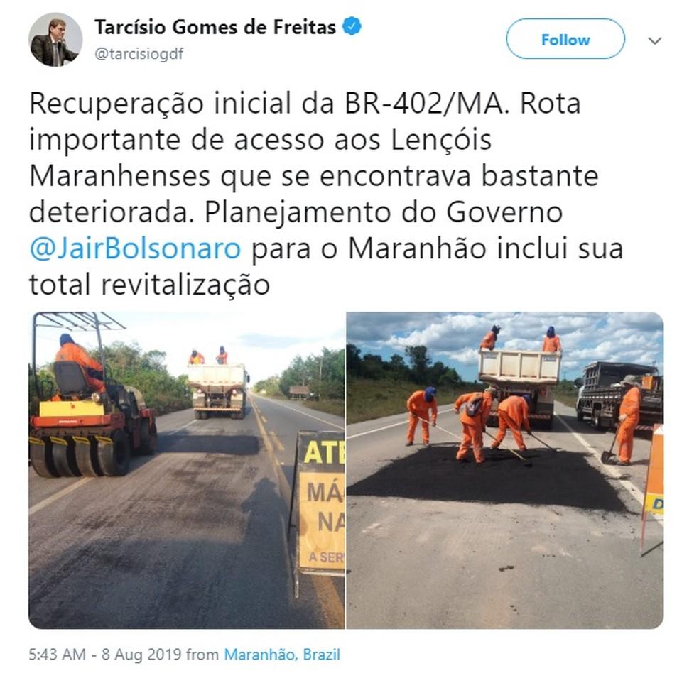 Ministro da Infraestrutura anunciou nas redes sociais o início das obras da BR-402, no Maranhão — Foto: Reprodução/Redes Sociais