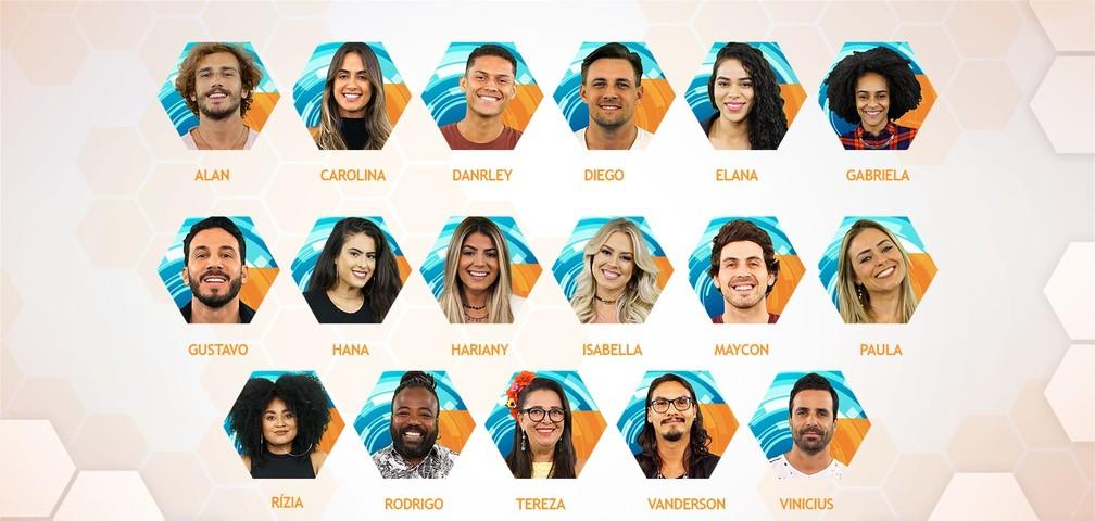 Os 17 participantes do Big Brother Brasil — Foto: Divulgação/TV Globo