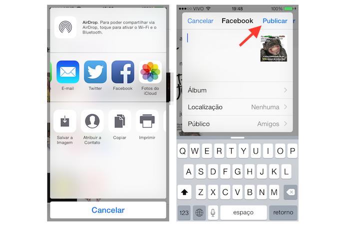 Compartilhando uma imagem do WhatsApp com as redes sociais no iOS (Foto: Reprodução/Marvin Costa)