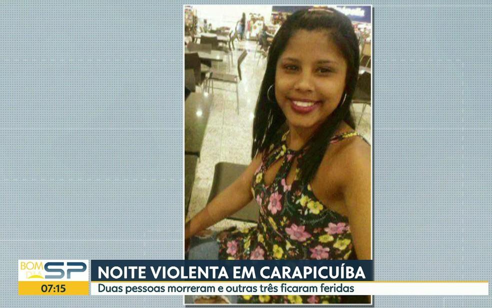 Renata Batista dos Anjos, de 17 anos, foi atingida pelos disparos em Carapicuíba (Foto: Reprodução TV Globo)