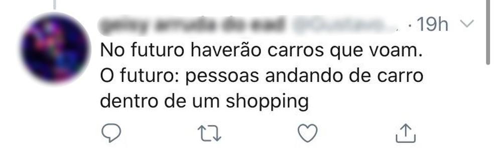 Drive-thru no shopping de Botucatu gerou repercussão nas redes sociais — Foto: Twitter/Reprodução