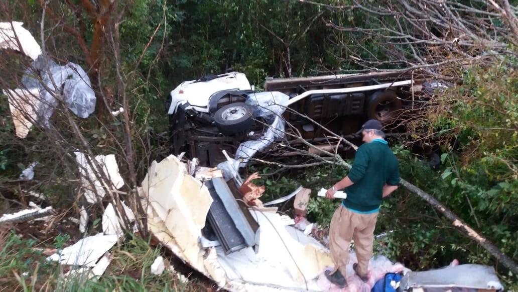 Caminhão tomba e espalha quatro toneladas de carne nas margens da BR-287 em São Borja - Notícias - Plantão Diário