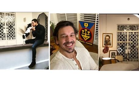 João Vicente de Castro mostra sua varanda, suas obras de arte e o local onde apresenta o 'Talk-show do João Vicente', nas redes sociais Reprodução