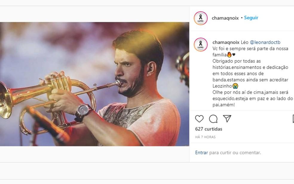 Banda goiana 'Chama Q Noix' faz post em rede social lamentando morte de integrante que vítima de acidente aéreo em MT — Foto: Reprodução/Instagram