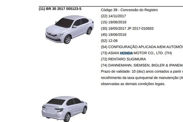 Registro do Honda Amaze no INPI (Foto: Reprodução)