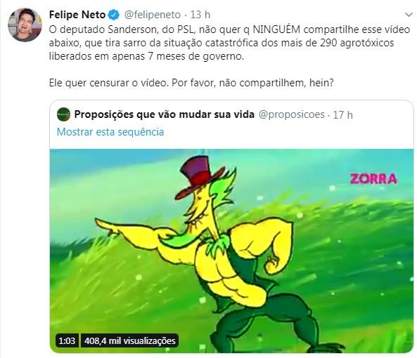 Publicação de Felipe Neto (Foto: Reprodução )