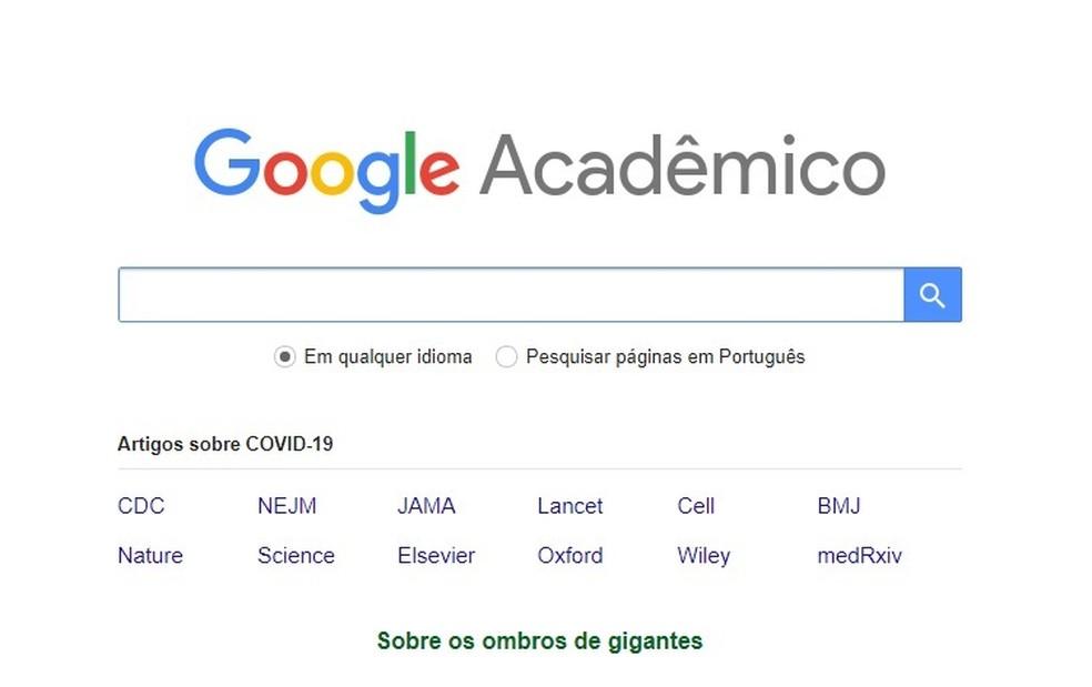 Google Acadêmico é um sistema do Google para buscas de materiais acadêmicos — Foto: Reprodução/Carol Fernandes