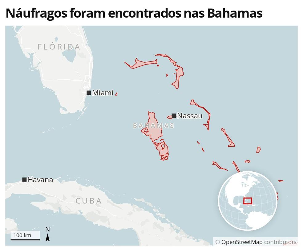 Mapa identifica a área das Bahamas — Foto: G1 Mundo