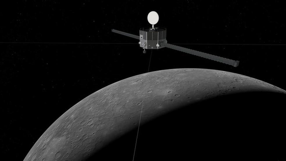 Mercúrio e sonda BepiColombo, em concepção artística — Foto: ESA