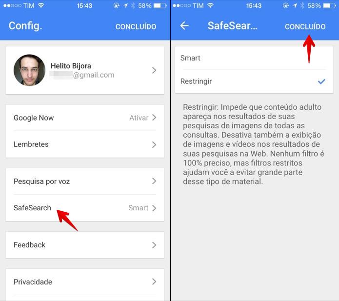 Ativando o filtro SafeSearch no aplicativo do Google para iOS (Foto: Reprodução/Helito Bijora)