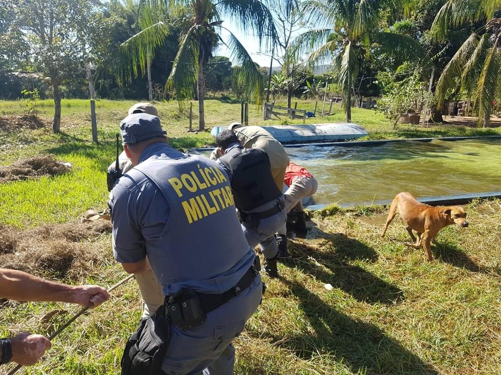 Militares amarraram corda no pescoço do animal para o resgate (Foto: Marcos Oliveira/Arquivo Pessoal)