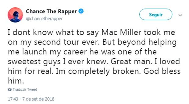 Mensagem de Chance The Rapper sobre a morte de Mac Miller (Foto: Reprodução/Twitter)