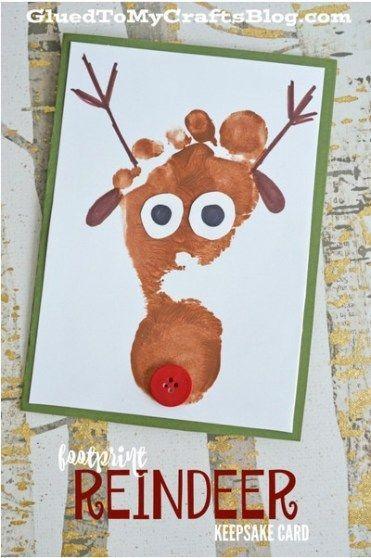 """Cartão deito com o """"carimbo"""" do pé da criança (Foto: Reprodução Pinterest Grued to My Crafts Blog)"""