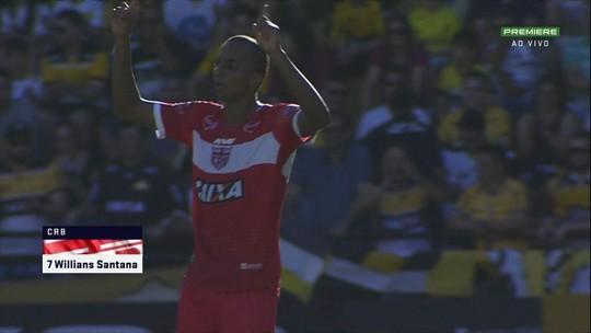 Com quatro gols nas últimas rodadas, Willians Santana dispara na artilharia do CRB; vídeos