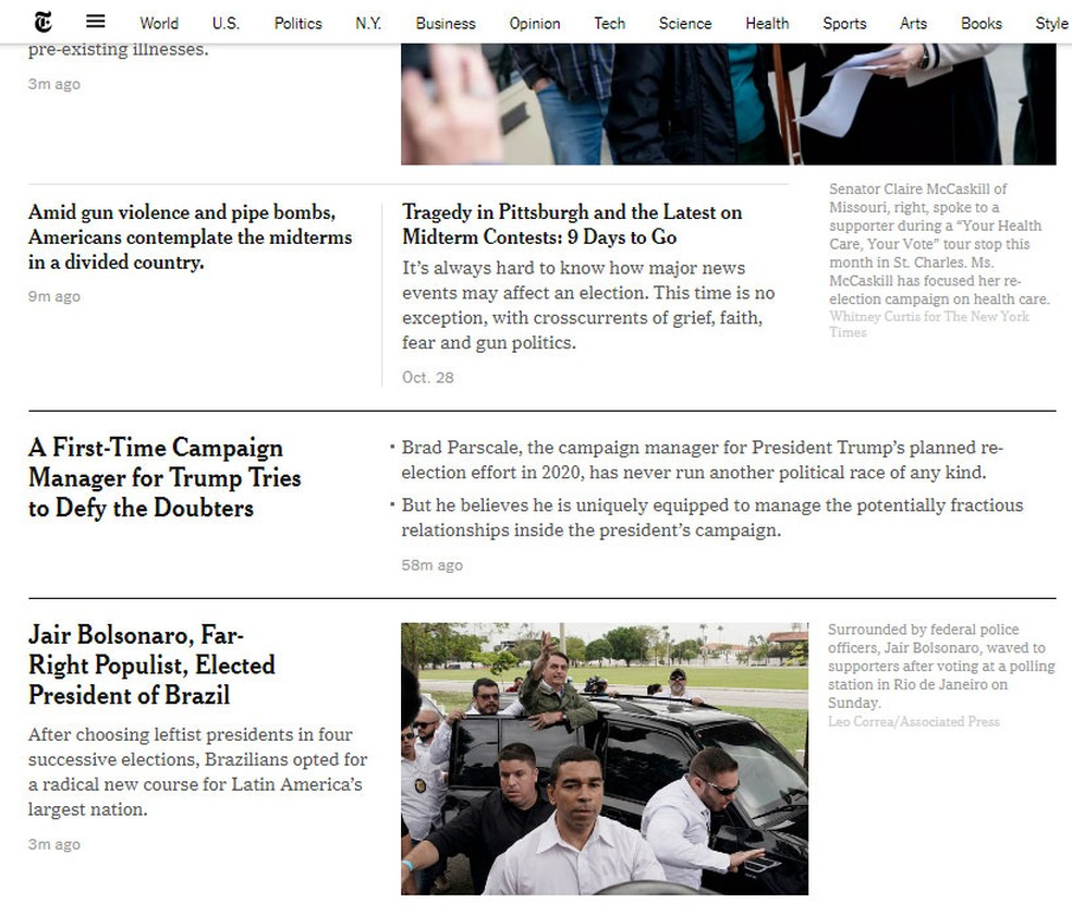 'NY Times' noticiou resultado de eleição presidencial brasileira — Foto: Reprodução/NY Times