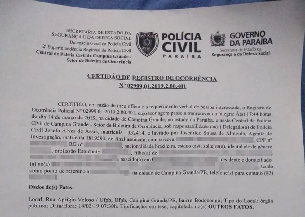 Após sofrer ameças, estudante registrou Boletim de Ocorrência na Polícia Civil de Campina Grande — Foto: Arquivo Pessoal