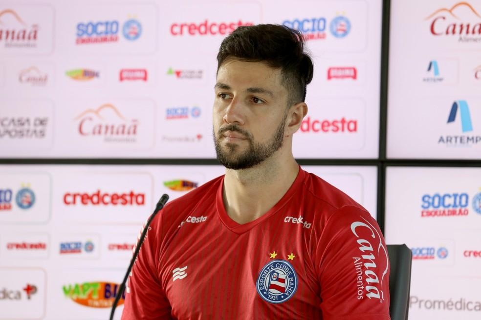 Mateus Claus deve ser titular novamente contra o Atlético de Alagoinhas — Foto: Felipe Oliveira / Divulgação / EC Bahia